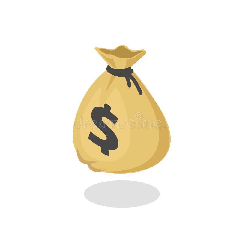 Иллюстрация шаржа значка, равновеликая moneybag 3d с черным drawstring и доллара знака вектора сумки денег изолированного дальше иллюстрация штока