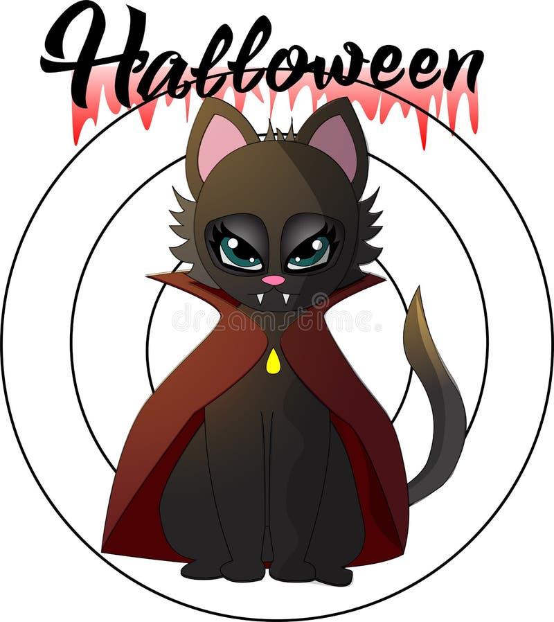 Иллюстрация шаржа котенка вампира на хеллоуин бесплатная иллюстрация
