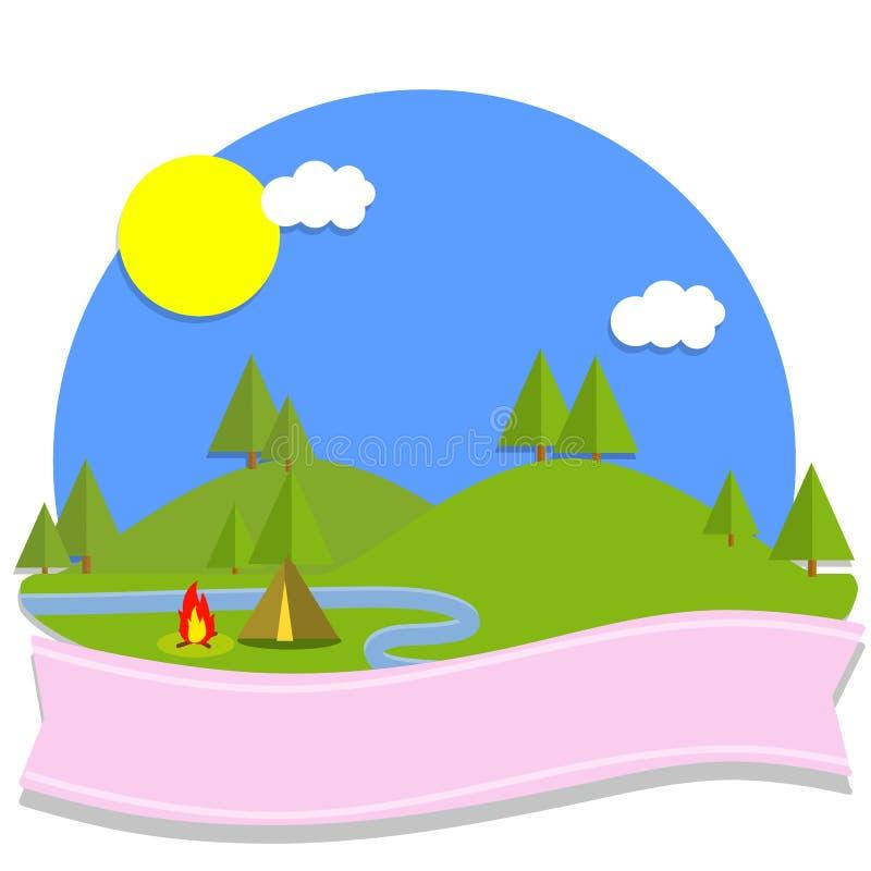 Иллюстрация шаржа плоская - зеленые луга и холмы, голубой пруд реки иллюстрация вектора