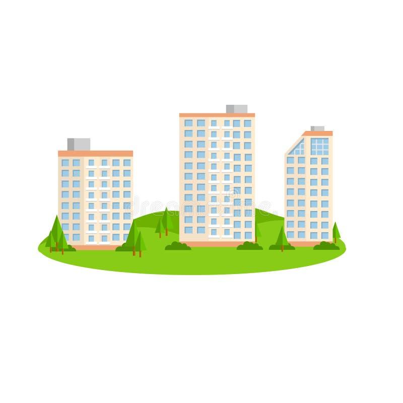 Иллюстрация шаржа плоская - красивое высокое здание на пляже иллюстрация штока