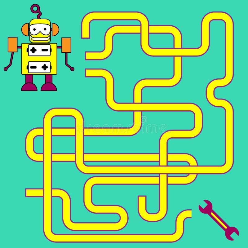 Иллюстрация шаржа путей или игры деятельности при головоломки лабиринта Дети уча собрание игр стоковое изображение