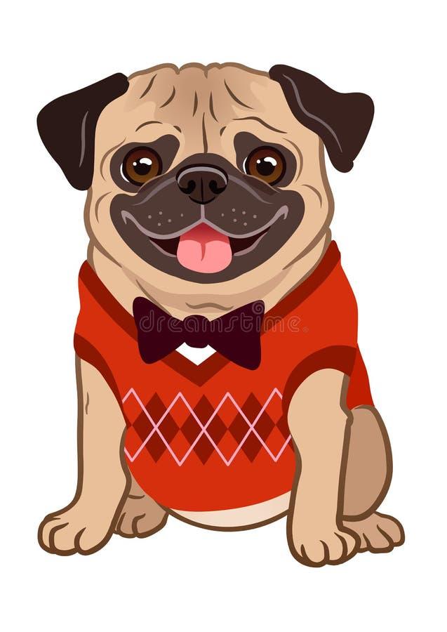 Иллюстрация шаржа собаки мопса Милое дружелюбное тучное пухлое sitt пыжика иллюстрация вектора