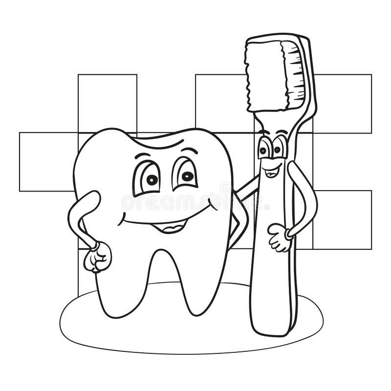 Иллюстрация шаржа счастливого характера зуба с книжка-раскраской зубной щетки иллюстрация вектора