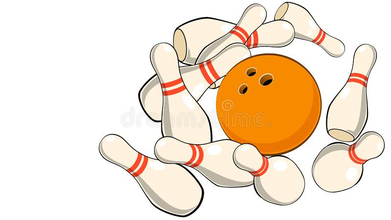иллюстрация штырей боулинга шарика боулинга бросая на белом конце-вверх предпосылки бесплатная иллюстрация