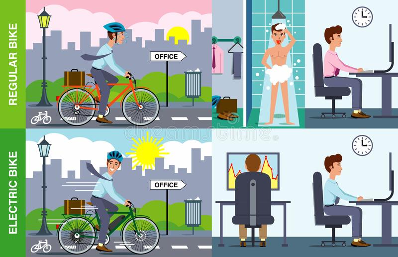 Иллюстрация электрического против регулярного велосипеда стоковая фотография rf