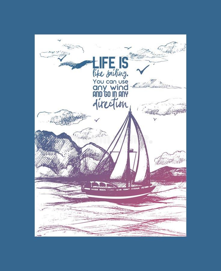 Иллюстрация эскиза воодушевленности вектора парусника Яхта моря руки вычерченная плавая на поверхность воды с литерностью бесплатная иллюстрация