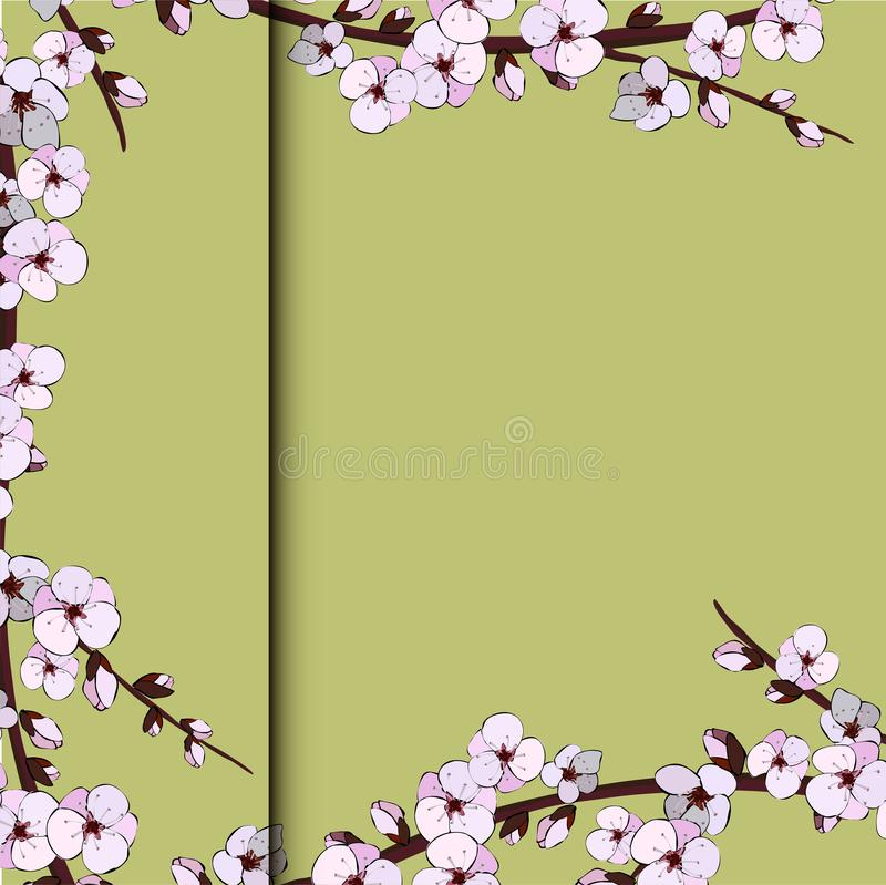 Иллюстрация японского вишневого цвета на розовой предпосылке бесплатная иллюстрация