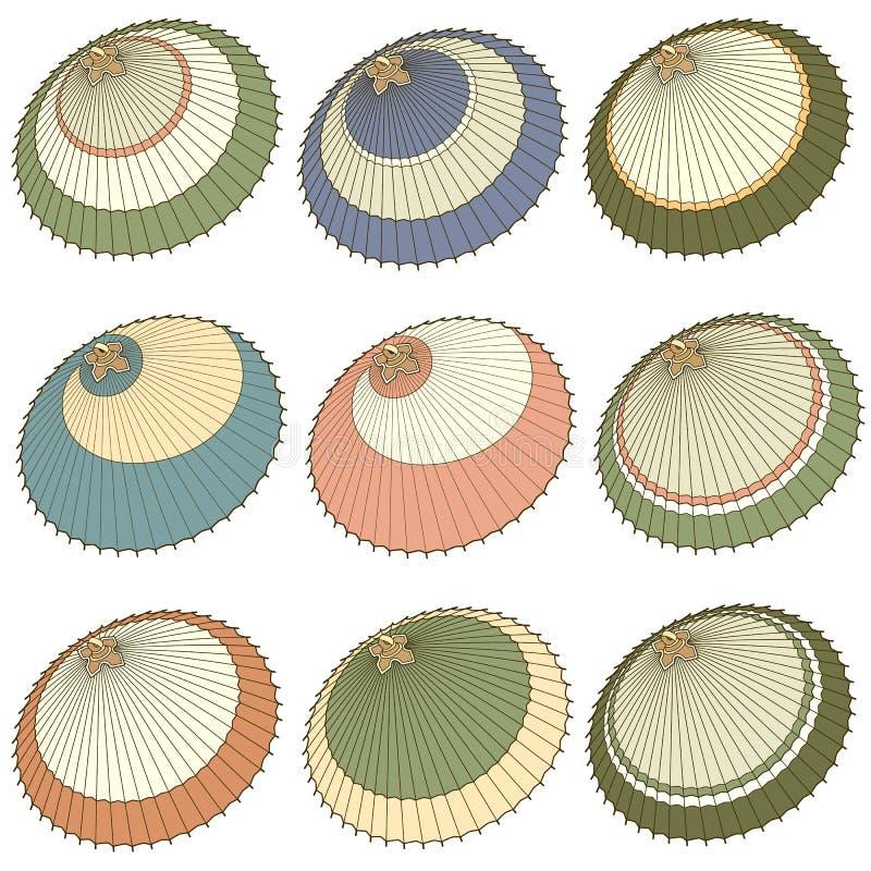 Иллюстрация японского традиционного зонтика, иллюстрация вектора