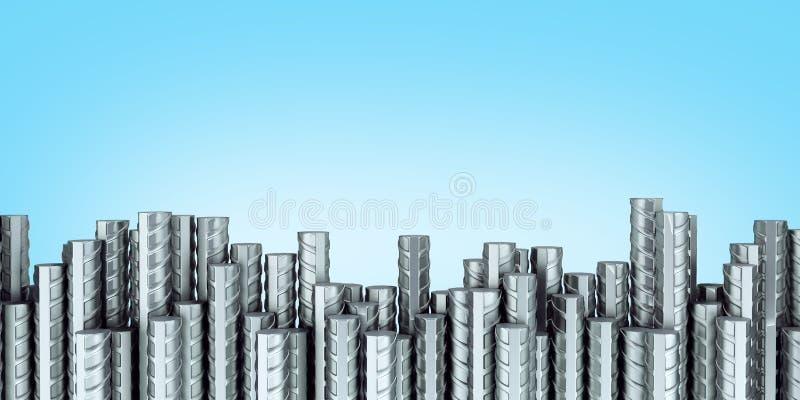 Иллюстрация armature 3d стали стального прута подкрепления строя на голубом градиенте иллюстрация штока
