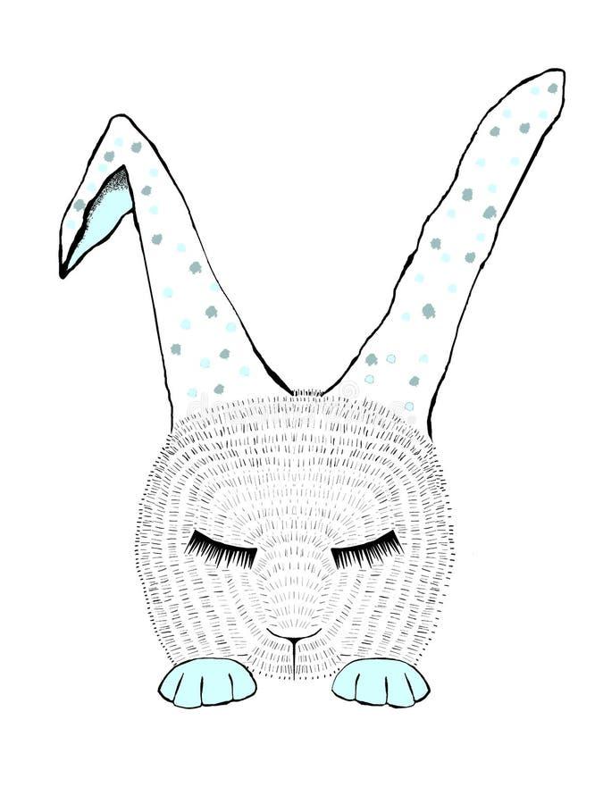 Иллюстрация bunnie спать голубая с точками стоковое фото rf