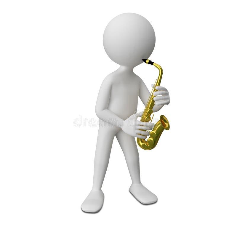 иллюстрация 3D абстрактного человека с саксофоном бесплатная иллюстрация