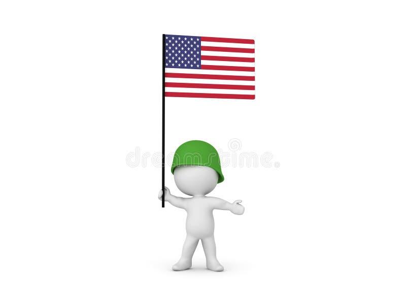 иллюстрация 3D американского солдата гордо поднимая флаг бесплатная иллюстрация