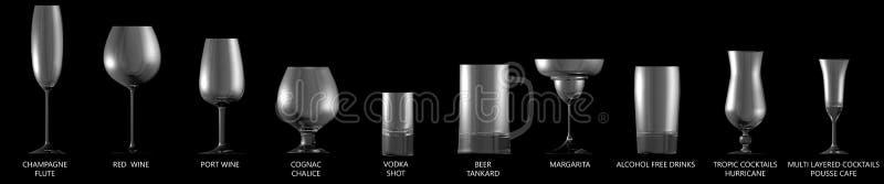 иллюстрация 3D большого собрания различных стекел для сильных напитков алкоголя и коктейлей изолированных на черном, взгляд со ст бесплатная иллюстрация