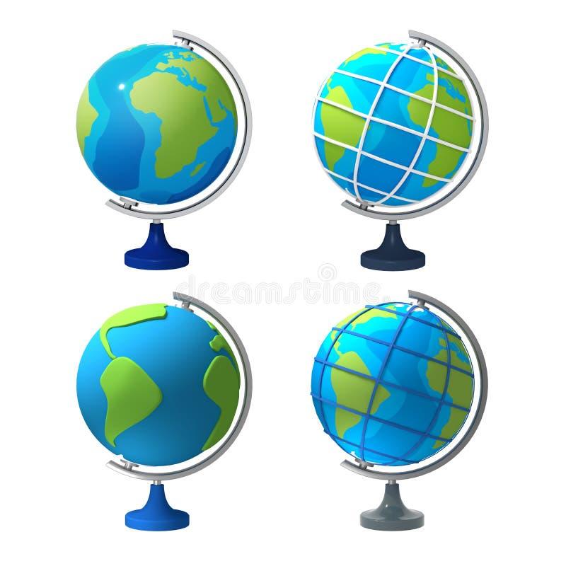 иллюстрация 3d 4 видов различного глобуса школы на белой предпосылке Подготовка для темы школы изолят иллюстрация штока