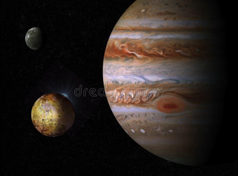 иллюстрация 3D гигантской планеты Юпитера и его спутников иллюстрация штока