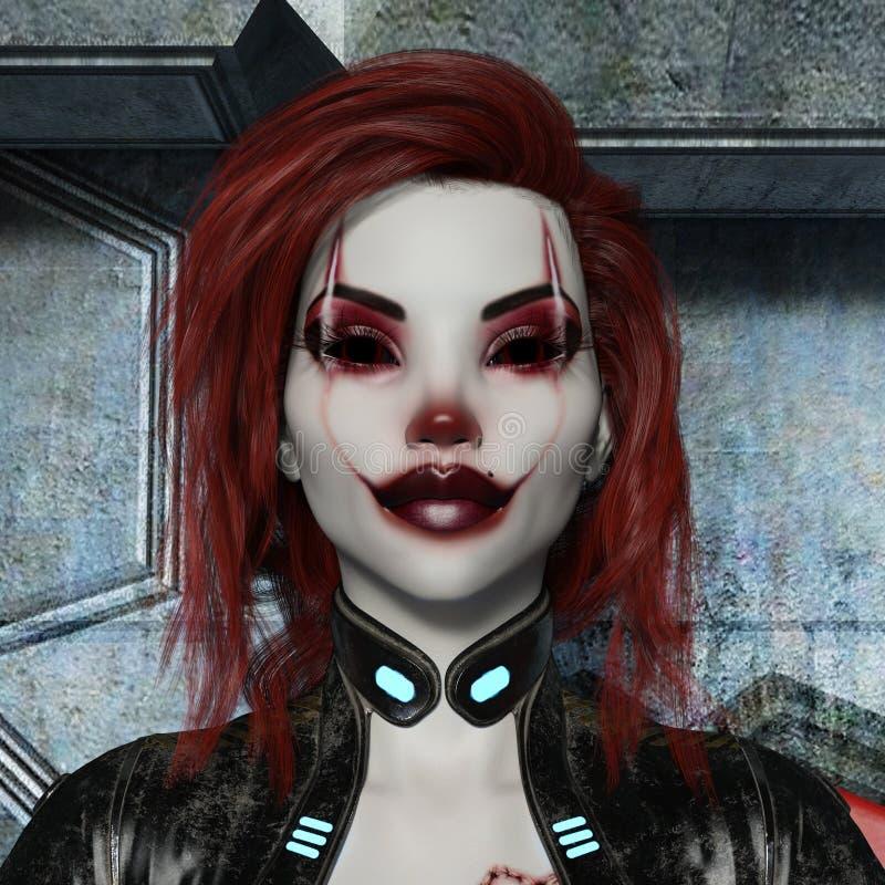 иллюстрация 3d голов и плечи женщины внутри составленных как злой клоун с красными волосами в bodysuit иллюстрация вектора
