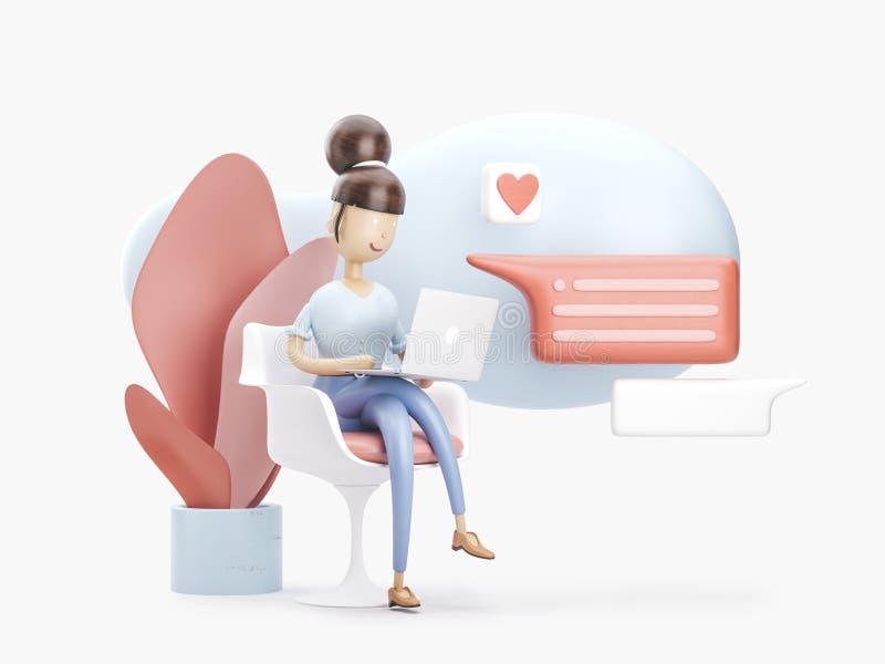 иллюстрация 3d девушка на интернете Социальная принципиальная схема средств иллюстрация вектора