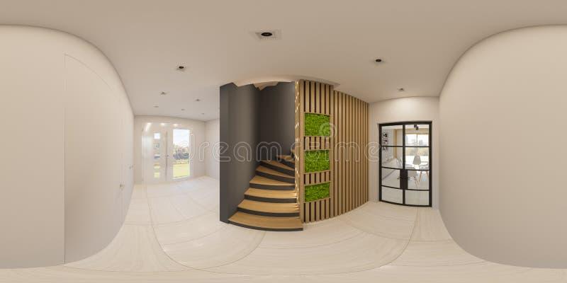 иллюстрация 3d дизайн интерьера панорамы 360 градусов безшовный фойе иллюстрация вектора