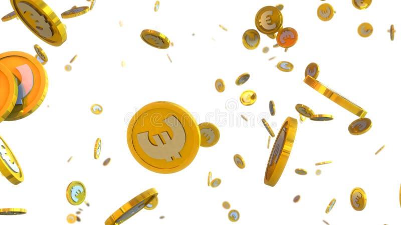 иллюстрация 3D евро чеканит падать на белую предпосылку бесплатная иллюстрация