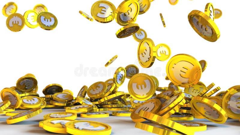 иллюстрация 3D евро чеканит падать на белую предпосылку иллюстрация штока