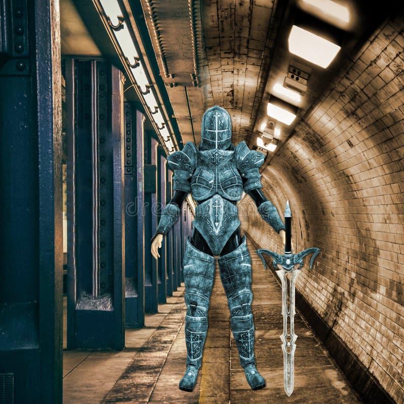 иллюстрация 3D женского городского ратника Ninja в унылый окружать иллюстрация штока