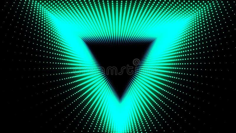 иллюстрация 3d, зеленые точки выровнялась вверх в линиях она была положена совместно до тех пор пока это не будет трубой треуголь иллюстрация вектора