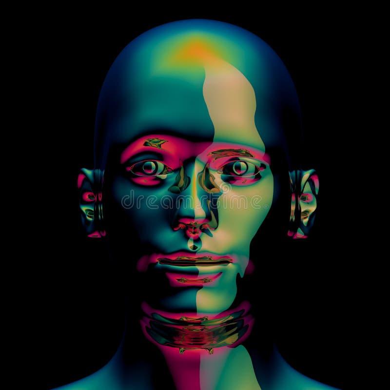 иллюстрация 3d значка металлического зеленого цвета головы человека золотого отполированного иллюстрация вектора