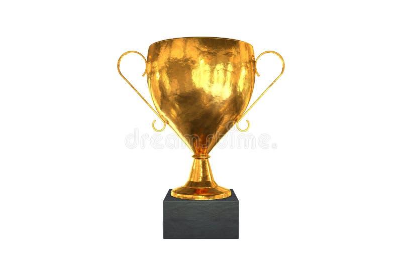 иллюстрация 3d: Золотая чашка победителя трофея изолированная на белой предпосылке Символ успеха в спорт, школе, образовании и ка бесплатная иллюстрация