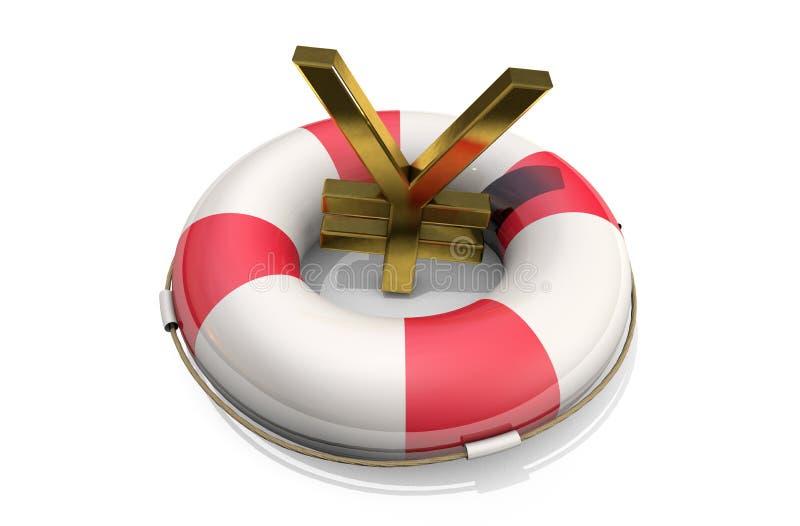 иллюстрация 3d: Золотой символ иен/юаней на Lifebuoy, изолированный на белой предпосылке Поддержка для японца/китайца e иллюстрация штока