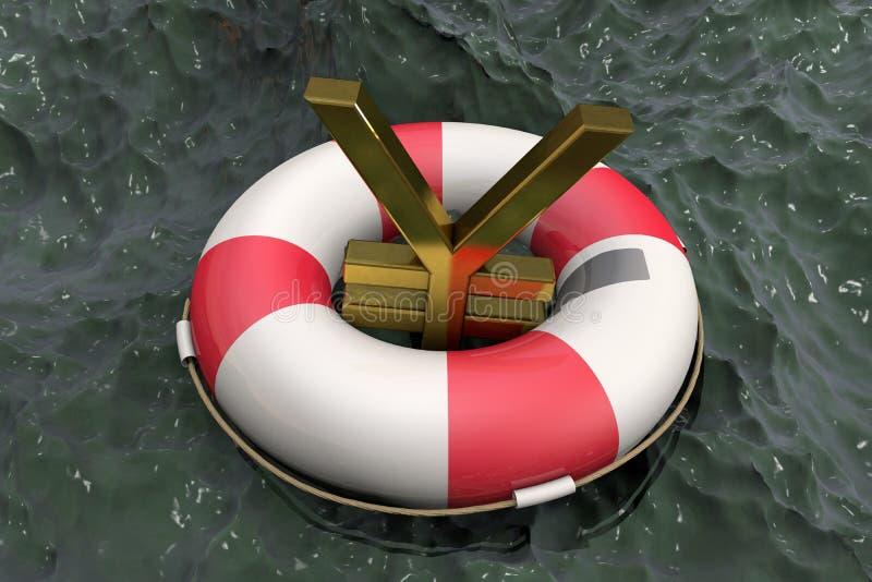 иллюстрация 3d: Золотой символ иен/юаней на Lifebuoy на предпосылке грязной воды Поддержка для японца/Китаев иллюстрация штока