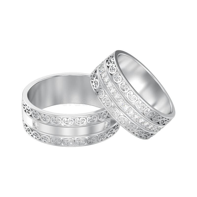 иллюстрация 3D изолировала 2 белое золото или обручальные кольца серебра декоративные высекли вне кольца с орнаментом иллюстрация вектора