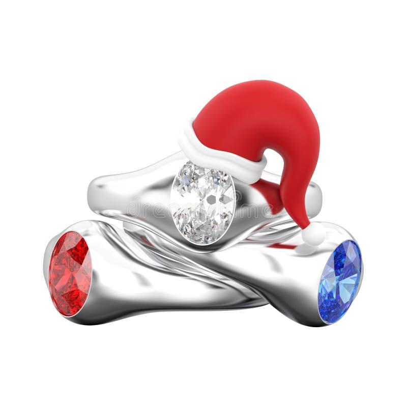 иллюстрация 3D изолировала 3 диамант захвата пасьянса белого золота или серебра иллюстрация штока