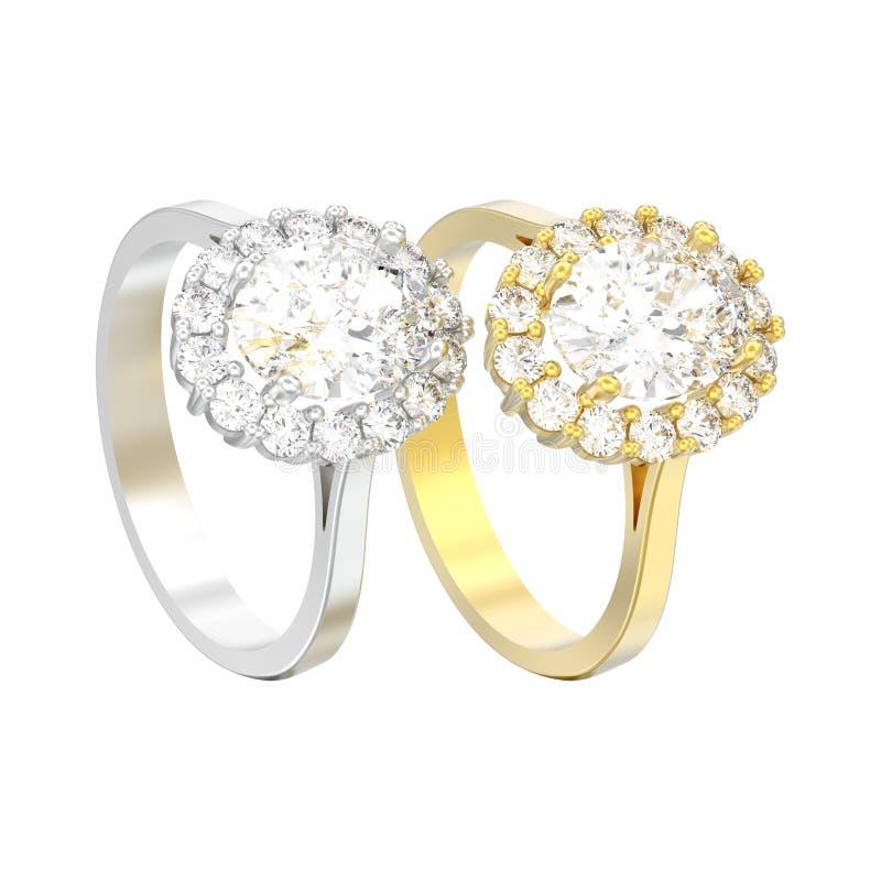 иллюстрация 3D изолировала 2 серебр и диамант e венчика золота овальный иллюстрация штока