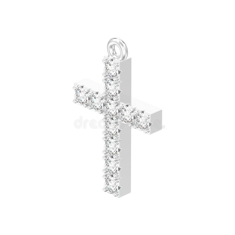 иллюстрация 3D изолировала шкентель креста диаманта белого золота или серебра декоративный бесплатная иллюстрация