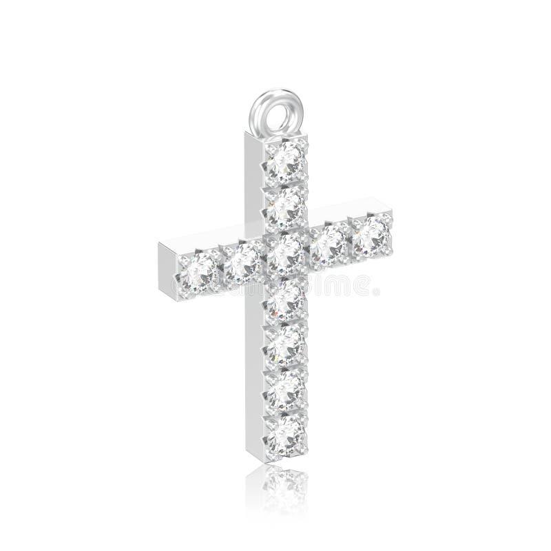 иллюстрация 3D изолировала шкентель креста диаманта белого золота или серебра декоративный с отражением иллюстрация штока