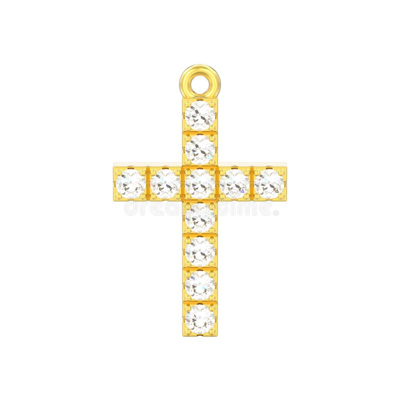 иллюстрация 3D изолировала шкентель креста диаманта желтого золота декоративный иллюстрация штока