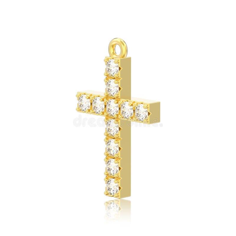 иллюстрация 3D изолировала шкентель креста диаманта желтого золота декоративный с отражением иллюстрация штока