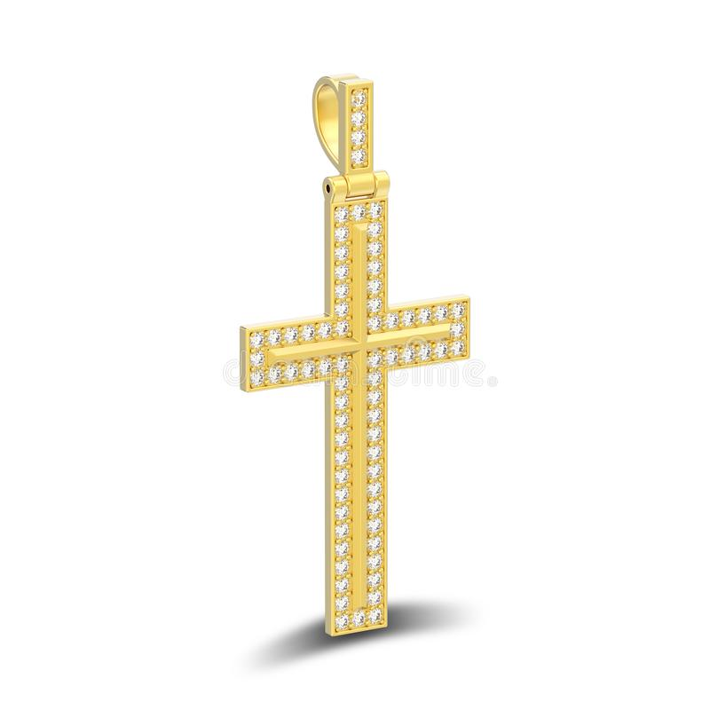 иллюстрация 3D изолировала шкентель w креста диаманта золота декоративный бесплатная иллюстрация