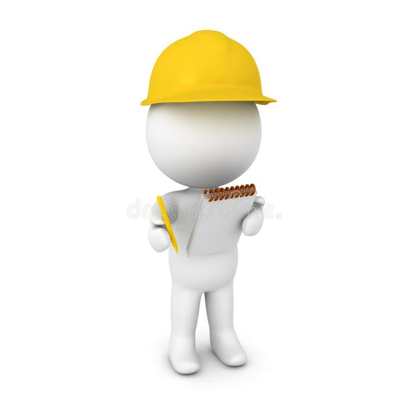 иллюстрация 3D исследователя нося желтую трудную шляпу бесплатная иллюстрация