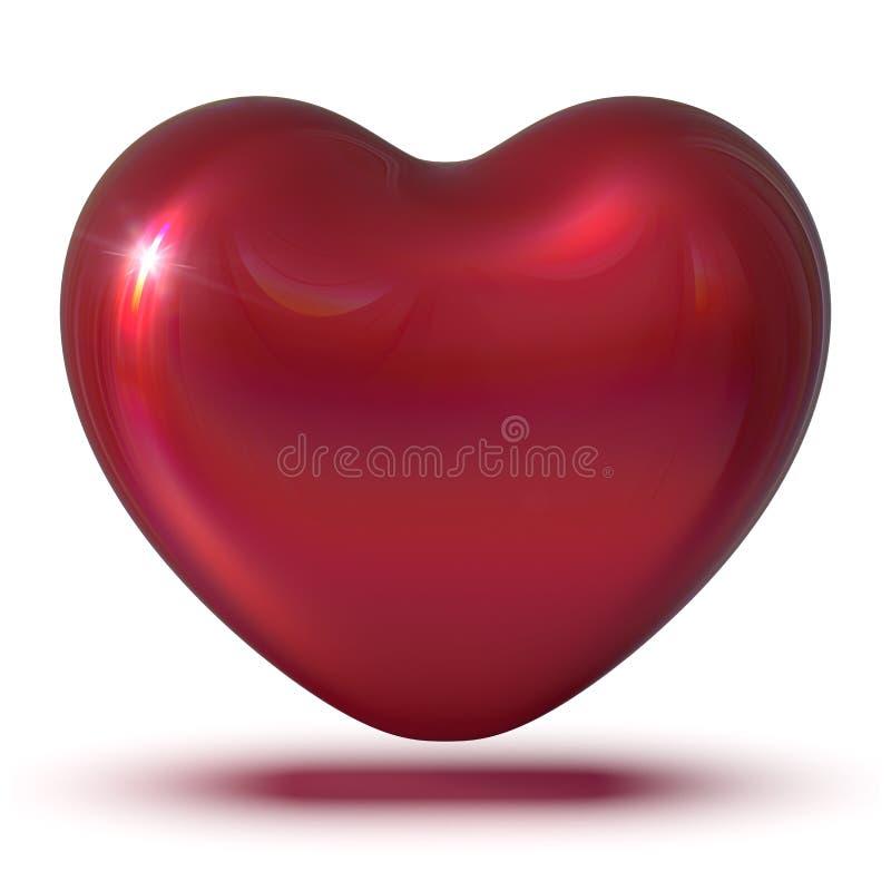 иллюстрация 3d классики символа любов формы сердца красной светя иллюстрация вектора