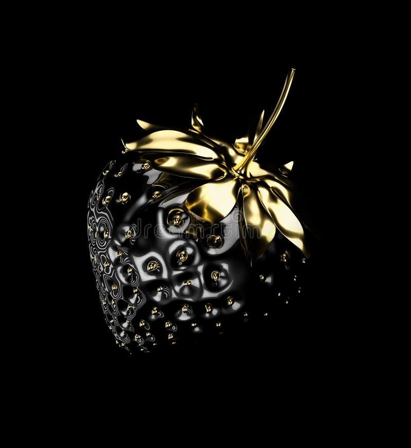 иллюстрация 3d клубники черноты и золота изолированной на черноте иллюстрация вектора