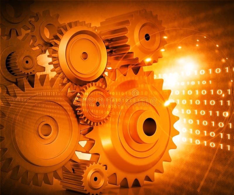 иллюстрация 3d колес шестерни иллюстрация штока