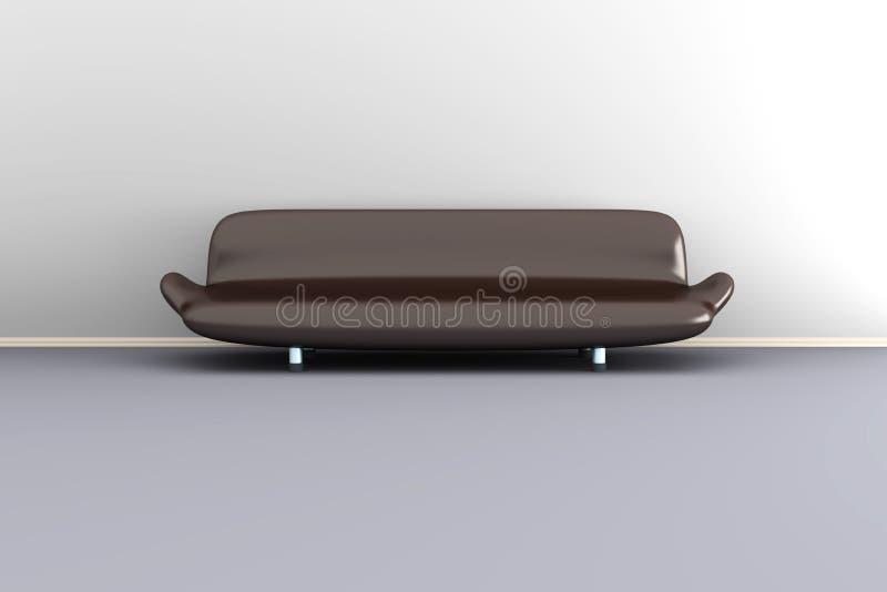 иллюстрация 3d коричневой софы в белой комнате иллюстрация штока