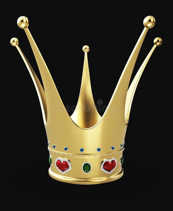 иллюстрация 3d красивой золотой кроны принцессы с красными рубиновыми сердцами изолировала черное стоковое фото