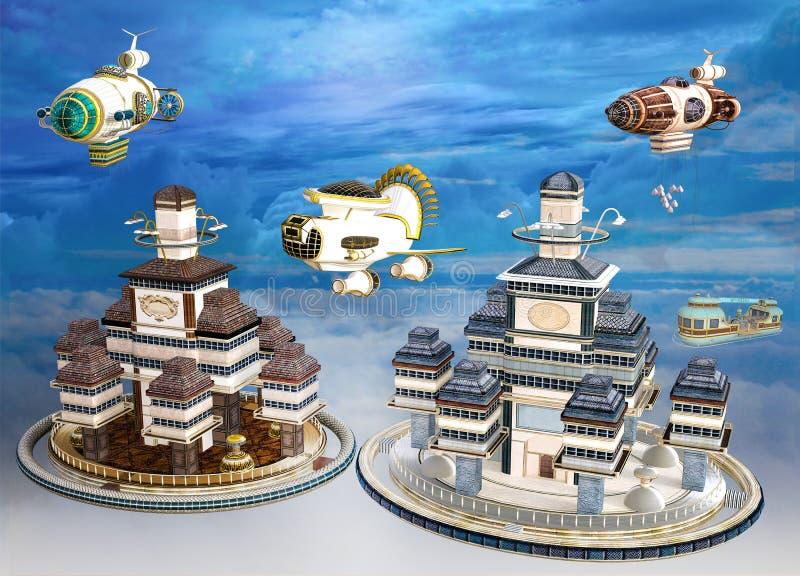 иллюстрация 3D красочной сцены дирижабля Steampunk иллюстрация штока