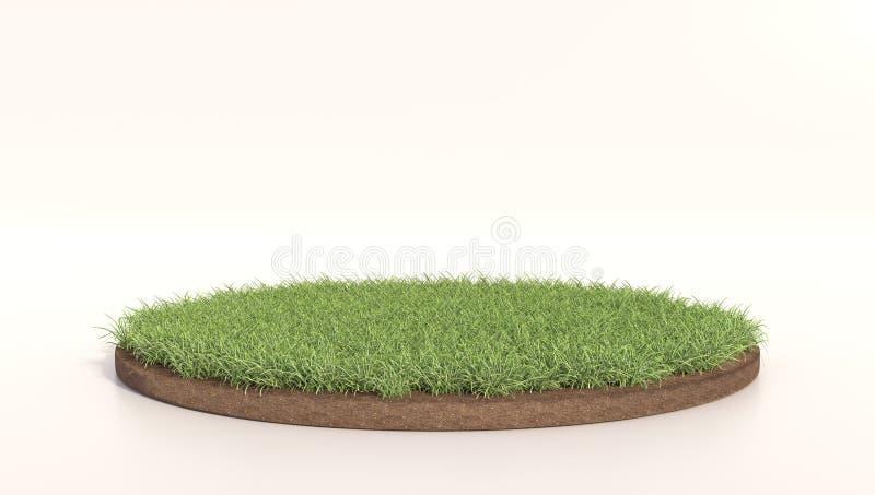 иллюстрация 3D круглой зеленой травы, земли почвы, дерновины Круг травы Реалистический перевод 3D иллюстрация штока