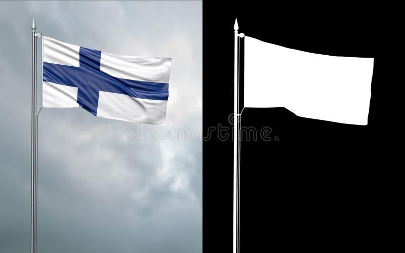 иллюстрация 3d национального флага республики Финляндии с каналом альфы иллюстрация штока
