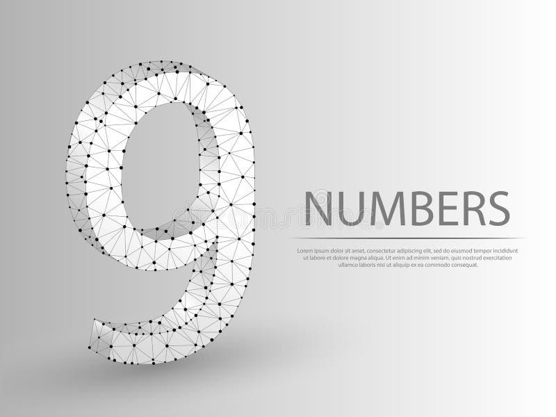 Иллюстрация 3D 9 низкая поли абстрактная Концепция wireframe числа 9 вектора Origami иллюстрация вектора