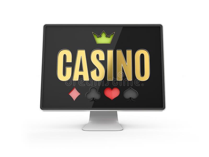иллюстрация 3d онлайн знамени казино, реалистического монитора компьютера, изолированной белизны иллюстрация штока