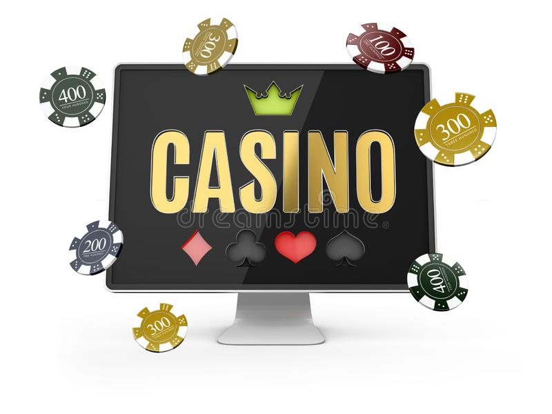 иллюстрация 3d онлайн знамени казино, реалистического монитора компьютера, изолированной белизны бесплатная иллюстрация